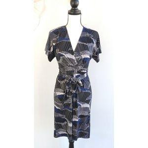New BCBGMaxAzria Avery Black Blue Tie Dress
